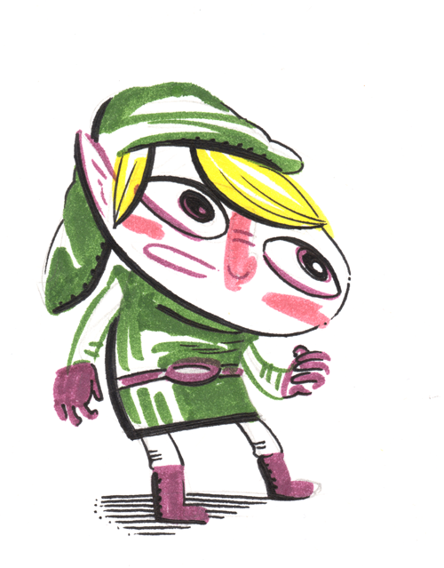 Hey!  Listen! I drew a picture of Link using some markers.  Then @beckyandfrank inked over my marker sketch with my dad's pen.