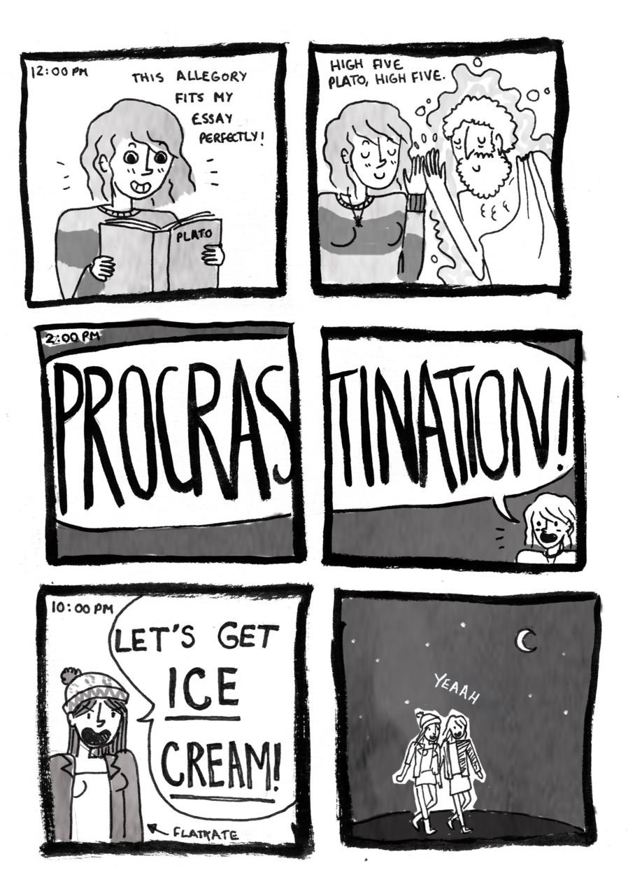 I did some hourly comics! Now you can see how much I procrastinate when writing essays! Click here to read the whole day on my site. These comics also serve as an explanation for why I haven't been posting as regularly recently: lots of essays and stuff. Hopefully normal service will resume shortly.