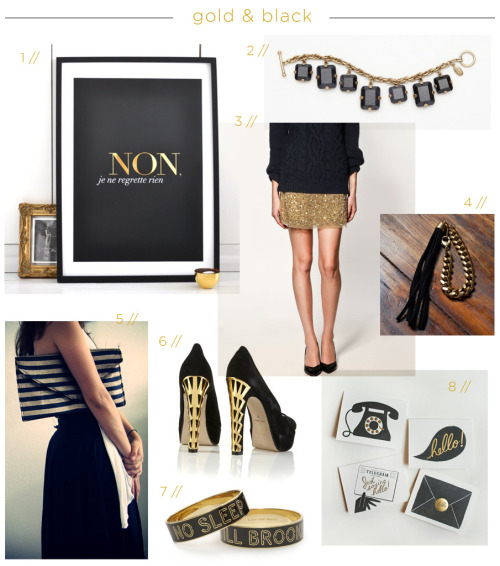 Lately I've been obsessing over black and gold. See my full post for image credits: http://threadbaresupply.com/?p=2137
