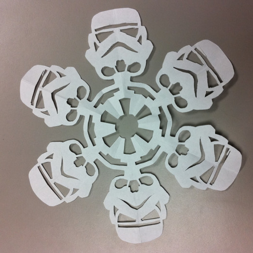 ebullientefflorescence:  Star Wars paper snowflakes. Directions here. :)  what oh my gosh yes please thank you!