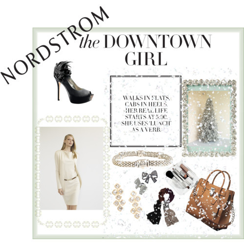 Nordstrom: The Downtown Girl Contest Entry by politicsandpumps featuring lagos jewelryKnit dress, $795Enzo Angiolini peep toe pumps, $120MICHAEL Michael Kors michael kors handbag, $348Lagos jewelry, $295Kate spade earrings, $128Cara statement ring, $48White Warren knit scarve, $120M·A·C 'Festive Frost' Face Kit, $60Joy :: Gifts :: - View All :: Rose Frame Large, £12