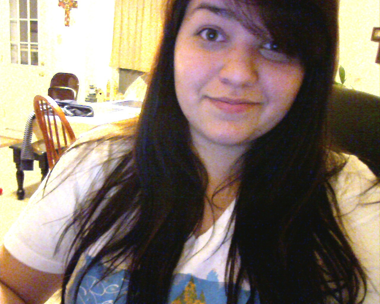 "Dear Tumblr-ites, I have dyed my hair black!I like it but I'm getting used to it. And I want it to be more black.Also, I'm having a ""deep"" week because I read The Perks of Being a Wallflower (in one day) and old Formspring questions. (which, if you know me/what those questions you'd know is not good). Also, basically everyone from my old church is leaving and it's making me think about when we left, which I guess I didn't realize till now, or maybe I forgot about, but it was really difficult for me and I kind of spiraled out of control, so it's just bringing that back.(and I know, you're like ""are you kidding me? You're worked up about a church you don't even go to anymore? go away!!!"" and then you unfollow me but that's just how it is for me okay.) So I'm just thinking a lot so be prepared for lots of deep and probably ""over your head"" text posts tonight. This is just a fair warning.But hey!!! Black hair!!!   Also, my dad just walked in to the dining room with just boxers on….what….even…what…"