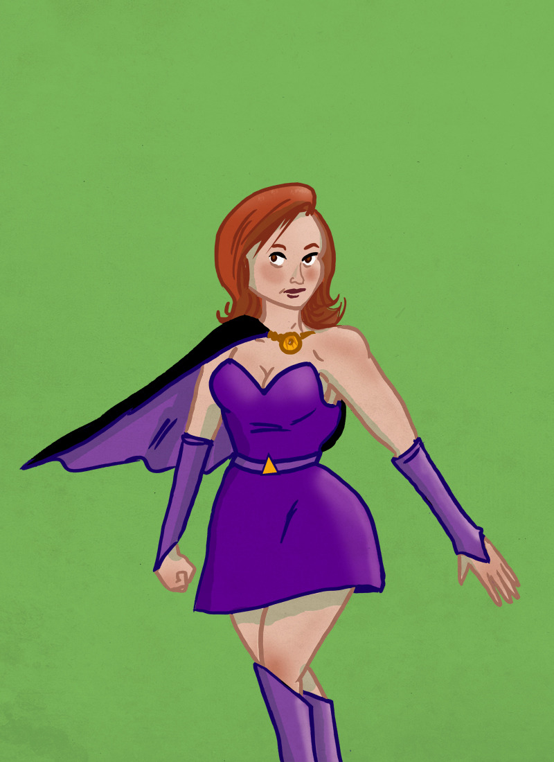 A friend at work asked me to draw her as a superhero.  I didn't do a good likeness in the face..may redraw, but sketchbet is drawing to a close for the day soon…