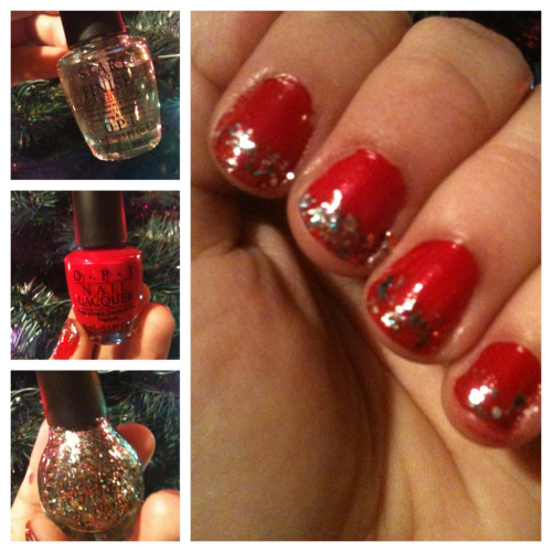 Fun holiday nails - start with OPI start to finish, apply OPI red, then finish with OPI rainbow in the s-Kylie !