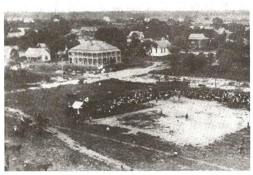 A baseball game in St. Petersburg, FL around 1904 was literally played on a sandlot. (Heritage Park-Pinellas County Historical Museum)