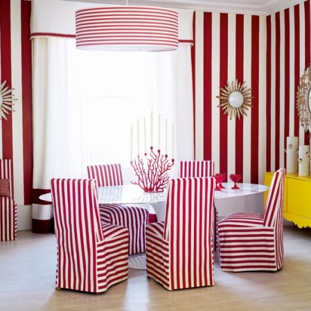 WOW! Create the look by mixing and matching similar stripes in different widths like the bold vertical wall stripe and the narrow horizontal stripe pendant light, and throw in a statement piece in a completely different shade for a quirky feel! So Bright, Bold and Visually Striking