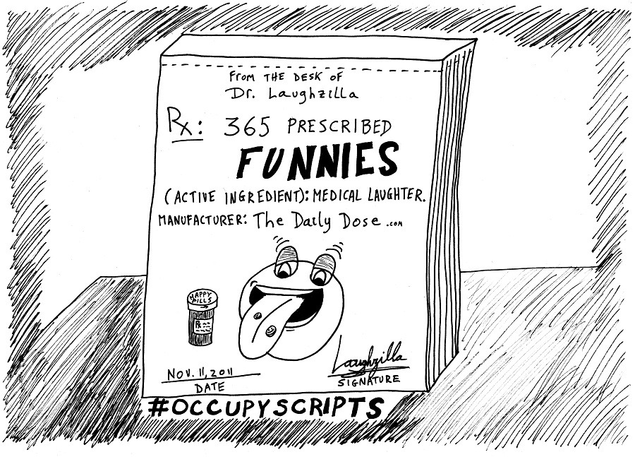 #occupyscripts editorial cartoon by laughzilla for thedailydose.com