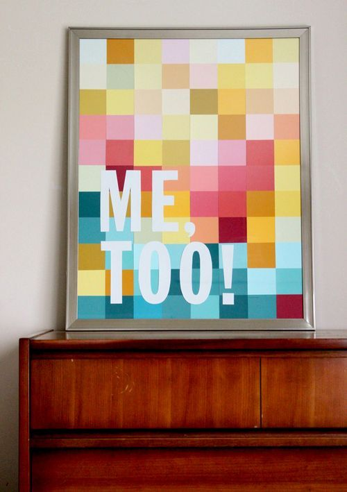 scissorsandthread:  Modern Wall Art with Paint Swatches | A Beautiful Mess Paint swatches are a weakness of mine. I could stand in front of them for hours, trying to decide if I like Pink Flamingo or Sugar Candy better (I can tell the difference!) I'm pretty sure the local hardware store sees me come in and says to the paint counter attendant - don't bother, she ain't buyin! Now I can steal paint swatches with an actual goal in mind - this awesome art! But what colour set should I get? Pastel? All pinks? I know what I'm doing tomorrow!
