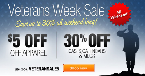 Veterans Week Sale @zazzle $5 Off Apparel. 30% Off Cases, Calendars & Mugs. All Weekend. Use Code: VETERANSALE5 http://www.zazzle.com/detourdesignables