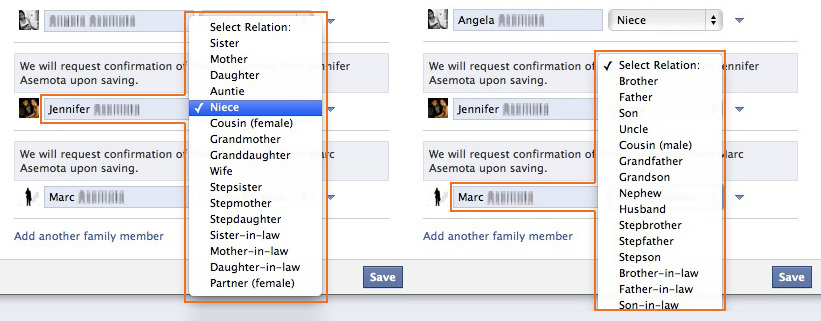 "Facebook - When ""new family member"" is added, Facebook automatically recognizes the chosen family member's gender and adjusts the list of possible family relatives in the list box accordingly.  /via steno"