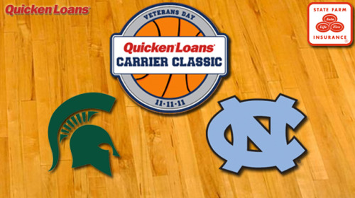 GET EXCITED! Tonight is the 2011 Quicken Loans Carrier Classic on ESPN at 7 PM!! GO MICHIGAN STATE! GO GREEN!