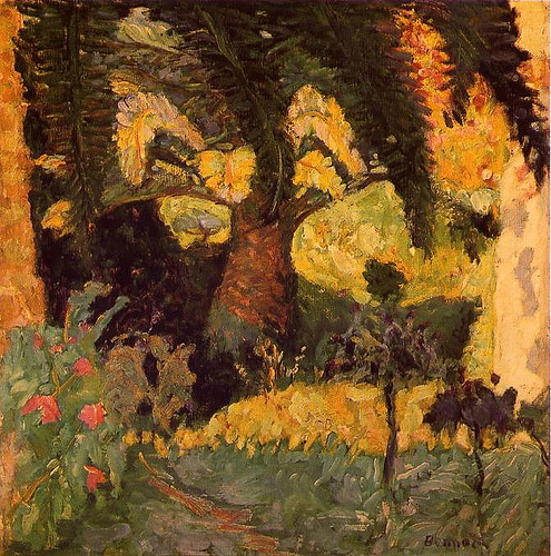 blastedheath:  alongtimealone: Pierre Bonnard (French, 1867-1947), Palm Trees at Le Cannet. 1924. Oil on canvas. Private collection.