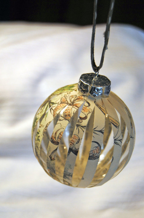 "Recycled Book ""Alice in Wonderland"" Glass Christmas Ornament"