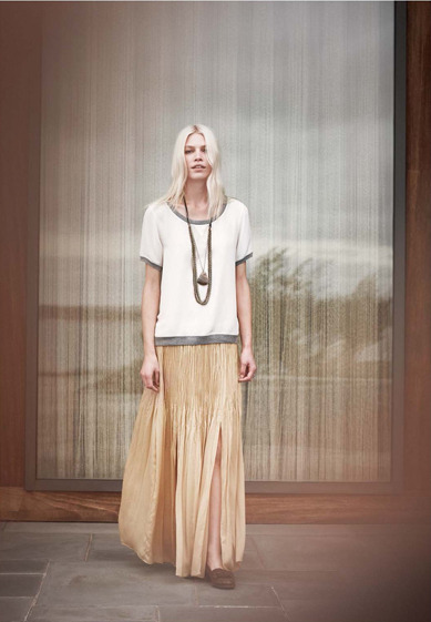 theglitterguide:  (via Club Monaco Spring 1 2012 Lookbook)  LOVE this skirt. the whole look is beautiful! so ethereal.