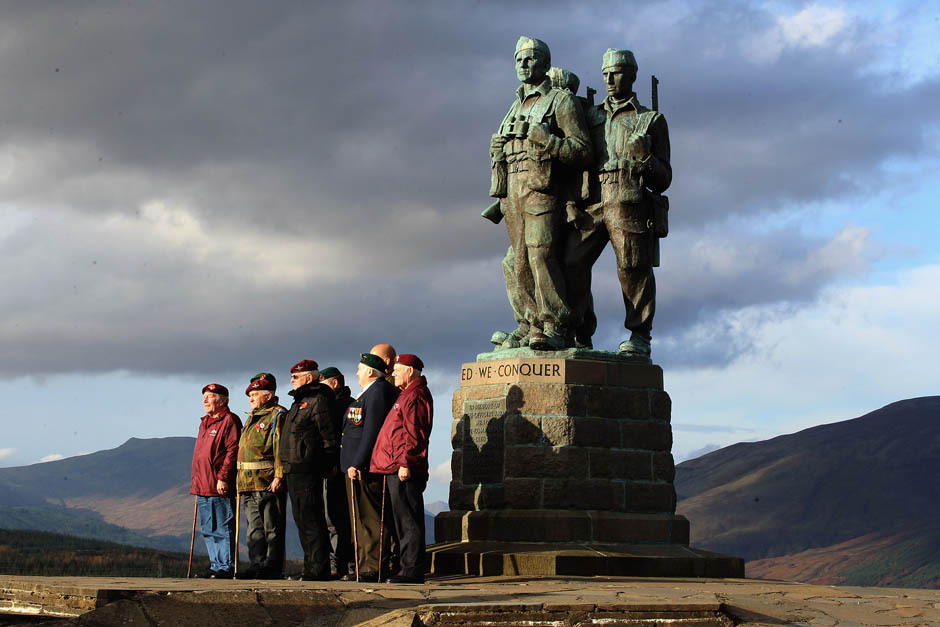 Photos of the dayVeterans attend Commando Memorial at Spean Bridge to observe a two minute silence as a mark of respect for the war dead on November 11, 2011 in Spean Bridge, Scotland. Armistice Day traditionally marks the end of the WWI when Germany and the allied forces signed the armistice signaling the end of hostilities on the Western Front. The cessation of the war officially took effect on the eleventh hour of the eleventh day of the eleventh month and is marked annually by services of remembrance for all those who have fallen in wars and a two minute silence. (Photo: Jeff J Mitchell/Getty Images)