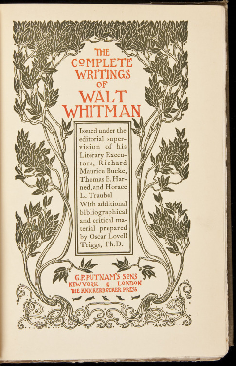 The Complete Writings of Walt Whitman New York, G.P. Putnam's Sons, 1902.  10 volumes. (8vo) original vellum-backed boards, spines gilt, top edges gilt, original printed cloth jackets. No. 408 of 500 sets of the Book-Lover's Camden Edition, signed in print by the publisher. Volumes 1 through 3 contain Leaves of Grass, Volumes 4 through 10 comprise his miscellaneous prose works.