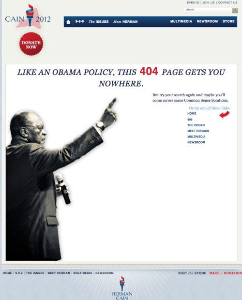 benjoseph:  This is Herman Cain's actual 404 page.