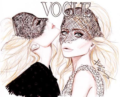 haydenwilliamsillustrations:  US Vogue Best Dressed 2011: Mary-Kate & Ashley Olsen by Hayden Williams