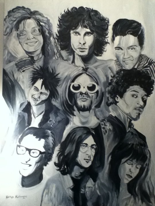 top left - bottom right: janis joplin,jim morrison, elvis, sid vicious, kurt cobain, jimi hendrix, buddy holly, john lennon, kristin pfaff.