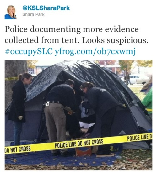 Occupy Salt Lake City occupant found dead in tent: A day after a particularly violent turn of events in two separate Occupy cities (Oakland and Burlington, Vt.), the Occupy movement suffered another setback after the death of an Occupant in Salt Lake City led to authorities shutting down the camp entirely. The occupant reportedly died from a combination of a drug overdose and carbon monoxide poisoning caused by a portable heater. City officials say they can no longer allow for the camp to continue due to safety reasons. (Photo by KSL reporter Shara Park)