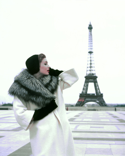 Suzy Parker at Trocadero.  Please note that the only actual people who dress like this are me & Suzy (both American). There are many elegant French women, but very few who wear red lipstick and have perfectly coiffed hair. The Romantic idea of Timeless French Elegance is actually an American invention.