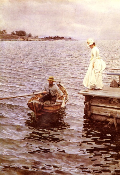kippery:  Sommarnoje by Anders Zorn - 1886 watercolor on paper  Zorn was crazy, man. Look at that water! He painted this with watercolors! FLIPPIN' WATERCOLORS.