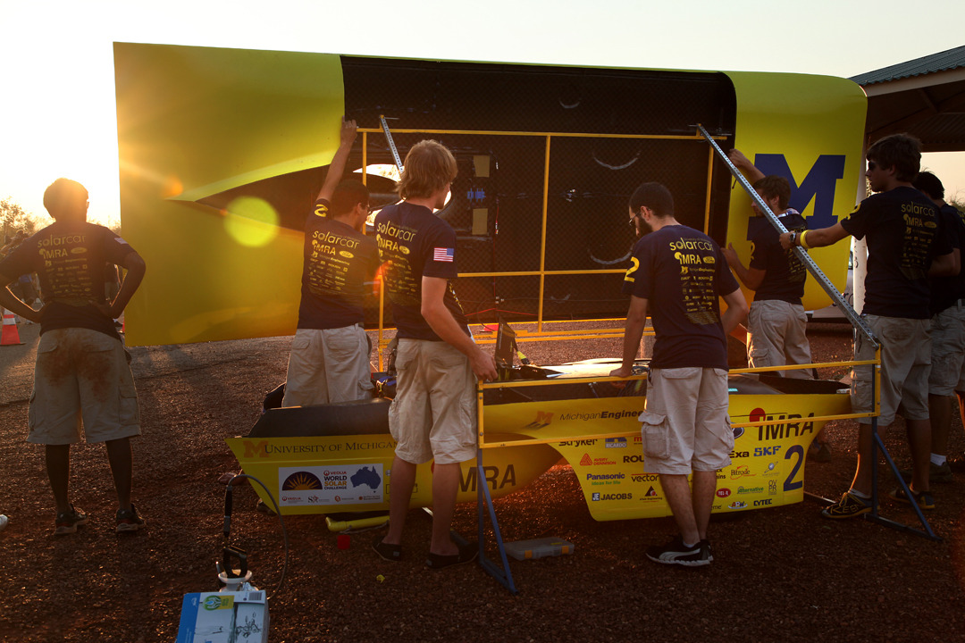 U-M solar car charges solar batteries at the end of the first day at the World Solar Challenge competition on Sunday, October 16th, 2011  We share previously unpublished photos from the WSC.Photo by Marcin Szczepanski, Multimedia Content Producer/College of Engineering, U-M