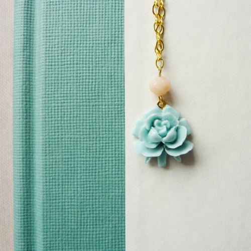 Baby Blue Rose with Pink Rosebud Bead Necklace via Katheyl
