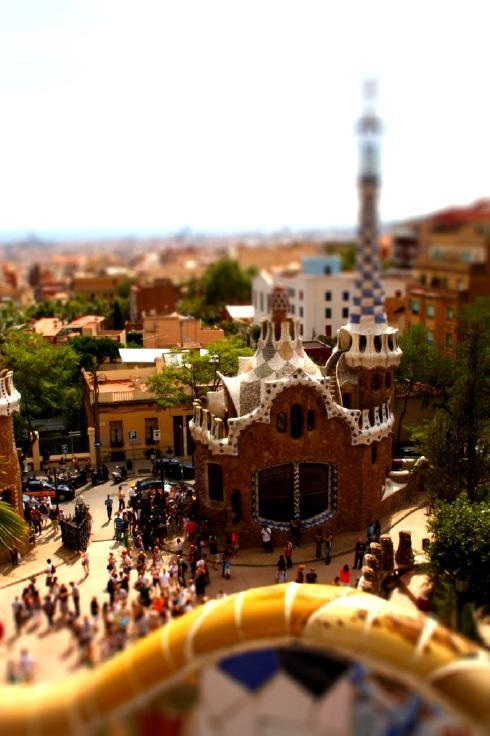 "Tilt shift image of  Barcelonas ""Park Güell"". Architect of this Park was Antonio Gaudi, who  greatly influenced Barcelona's Cityscape. By GloryOfColor"
