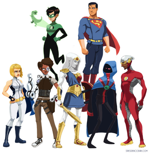 Aaron Diaz's redesigned Justice League. I particularly like the look of the statuesque Wonder Woman.