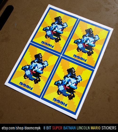 8 bit Super Batman Lincoln Mario Stickers available at: http://www.etsy.com/shop/DoomCMYK