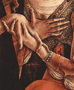 downlookingup:  Detail of Carlo Crivelli's Pietà. Mary Magdalene (I think) holding one of Jesus's nailed hands.