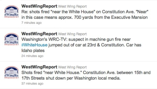Also on our radar tonight: Shots were reportedly fired near the White House tonight. Details still coming out, but the gun recovered (after a car chase) was an AK-47. The president was not at the White House this evening — he was in North Carolina California for the Carrier Classic, an NCAA basketball game taking place on a freaking boat. EDIT: Via our friend inothernews, here's a Washington Post story on the incident. Also, we mixed up a detail on the basketball game. Apologies.
