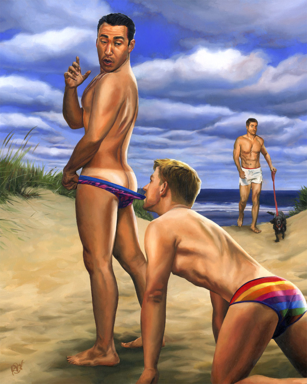 artqueer:  Paul RichmondBeach Bum, Starring Alan Ilaganoil painting