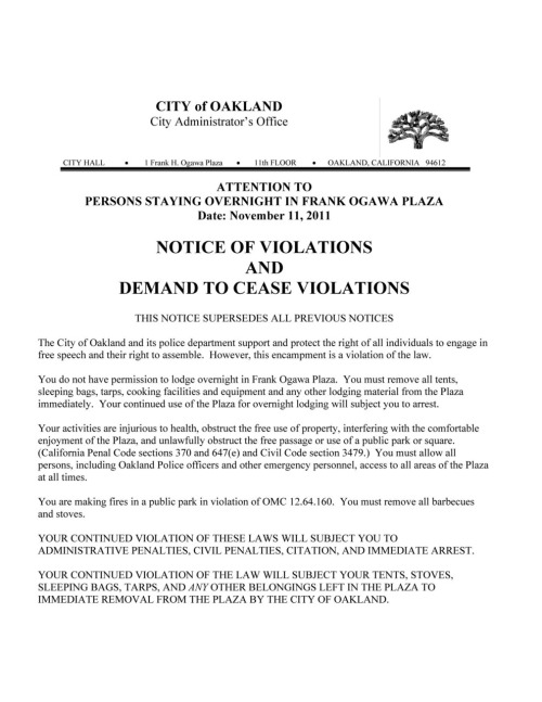 The notice of eviction for those at Occupy Oakland. Click for full image. (Source: Oakland Police Department)