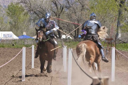 "wellidunno:  ""Will full-contact professional jousting be the next extreme sport? For  some, it is a real-life passion and thrives outside of the movies and  Renaissance fairs. Charlie Andrews leads the ""Knights of Mayhem,"" a  group of modern-day Lancelots and Galahads dedicated to transforming  this medieval sport from a staged act to a professional sports  phenomenon that will sweep the globe. For these ""knights,"" jousting is  no dinner show. Donning 130 pounds of steel armor, they mount  2,000-pound horses and charge at each other with solid hemlock lances at  speeds up to 30-mph, while peering through a quarter-inch eye slot in  their helmets…"" IS THIS REAL LIFE?!"