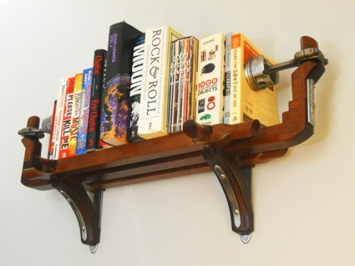 Piston bookshelf by mattjohnsondesigns on Etsy How gorgeous is this shelf? I mean seriously. Seriously! According to the description, the one pictured has been sold but the artist can custom make you one. For more amazing recycled pieces of art visit the rest of Matt Johnson's Etsy Shop. Serious coveting going on right now.