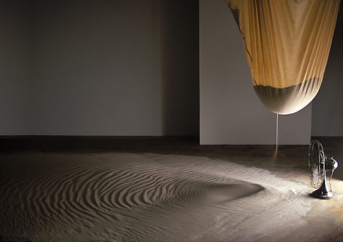 shinyslingback:  RAN ORTNER. DRIFT, 2000. 1000 LBS OF SAND, A BAG AND A FAN.