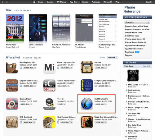 Call Minutes Pro is featured in the App Store (US) today.