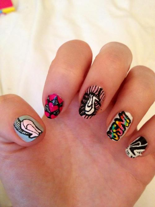 "thisisnailporn:  INSANE in the nail game ""Insa""  artist inspired nails - Katie Thank u 4 this schwagging submission! Check the INSA site here"