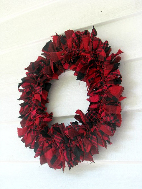 red and black tartan wool plaid Rag Wreath on Flickr.
