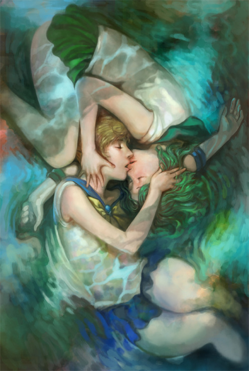 Let's hear it for in-canon lesbian couples! This lovely painting of Sailor Neptune and Sailor Uranus by Nozomu Ikeuchi earned him a Daily Deviation on DeviantArt.