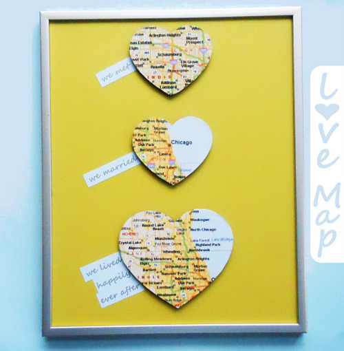 (via Delightfully Noted: Love Map Wall Art {DIY Wedding Gift}) This is a great idea. If I make it for myself, I'd leave off the text.