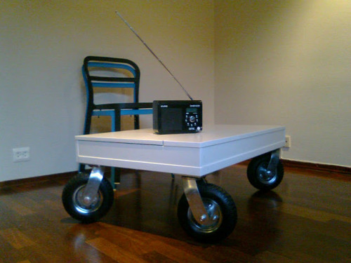 (via IKEA Hackers: Desktop with rugged wheels as coffee table)