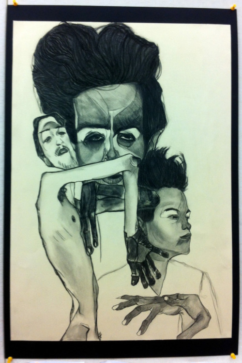 krobillustrations:    Egon Schiele re-creation for my foundations class. 22x30 charcoal and prisma pencil.