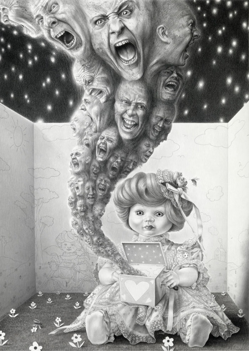 "black-tangled-heart:  Laurie Lipton Pandora's Box charcoal and pencil on paper 39"" × 28""2011"
