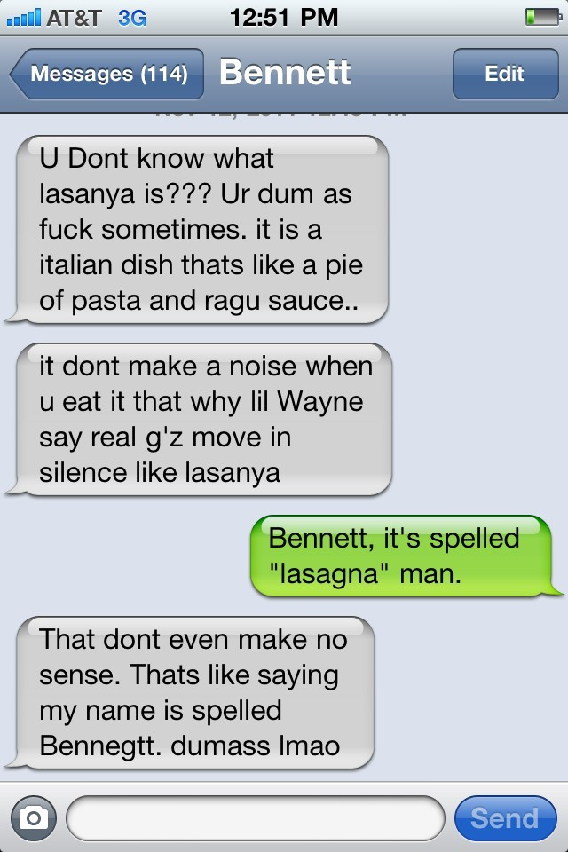 textsfrombennett:  Bennett on Chinese buffet lasagna part 2.