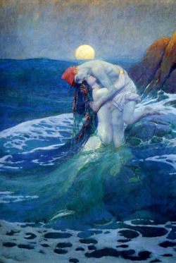 "The mermaid. Howard Pyle  (1910) ""Beneath the deepening sky and rising moon, the juncture of opposing  forces anchors this work: land vs. water—human vs. mermaid—strong vs.  weak. The mythic mermaid rises from the briny foam and rescues a  shipwrecked man who was descending into the deep."""
