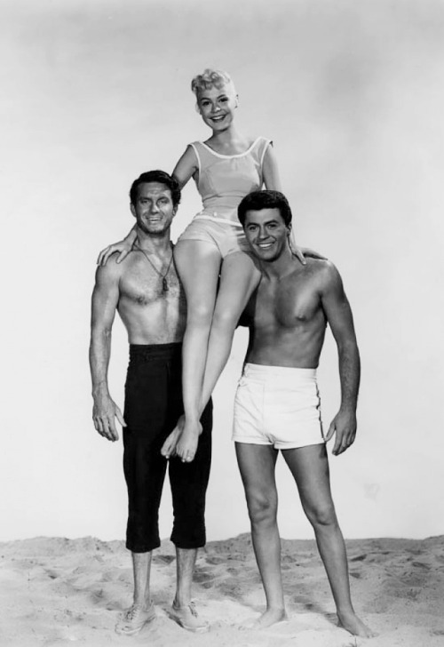 "The Big Kahuna, Gidget & Moondoggie - Cliff Robertson, Sandra Dee & James Darren in the movie ""Gidget"" - 1959"