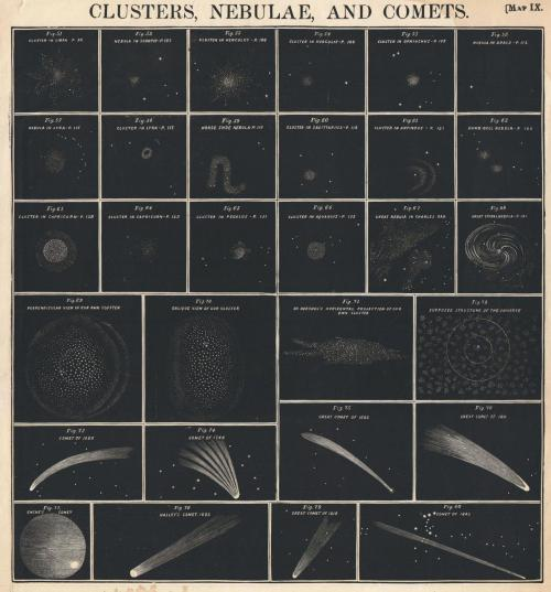Beautiful ghosts of astronomy past. mythologyofblue:   W.G. Evans, Chart of comets, star clusters and nebula, 1856  (the-rx)
